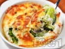 Рецепта Запечени броколи със сметана, яйца, прясно мляко и кашкавал